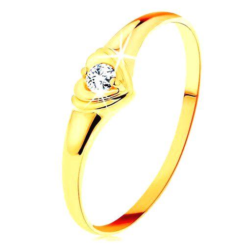 Diamantový zlatý prsteň 585 - ligotavé srdiečko so vsadeným okrúhlym briliantom - Veľkosť: 65 mm