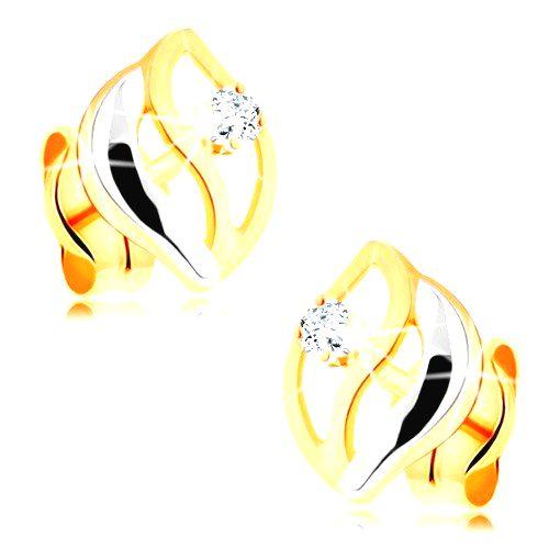 Dvojfarebné náušnice v 14K zlate - tri zvlnené línie
