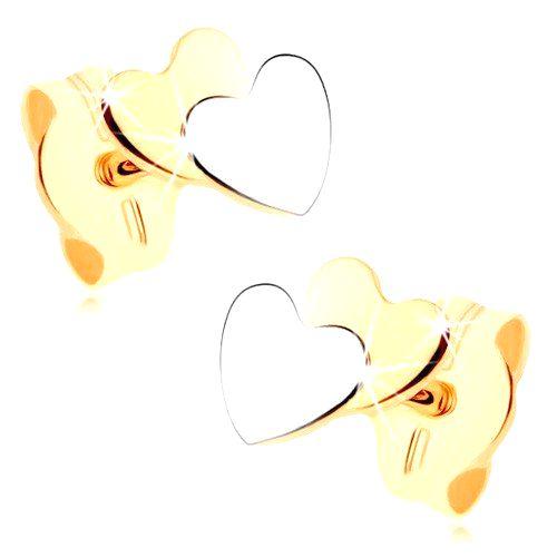 Dvojfarebné náušnice v 9K zlate - malé ploché srdiečka