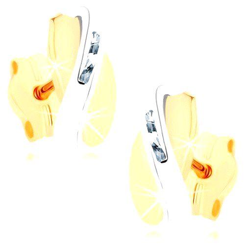 Dvojfarebné náušnice v 9K zlate - prekrývajúce sa oblúčiky