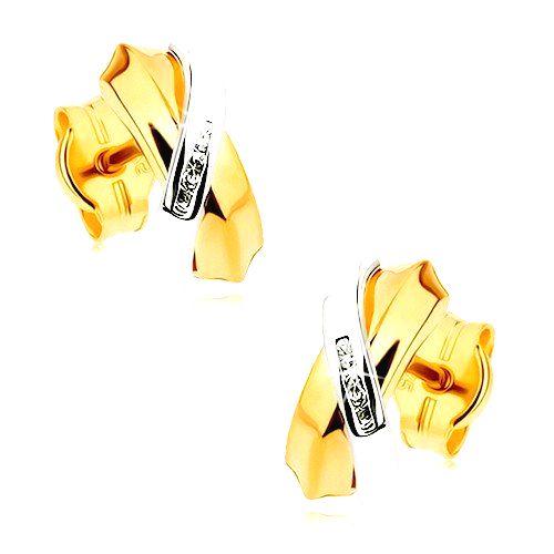 Dvojfarebné náušnice z 9K zlata - prelínajúce sa oblúky