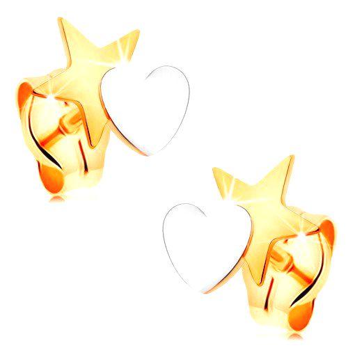 Dvojfarebné náušnice zo 14K zlata - hviezda spojená so srdiečkom