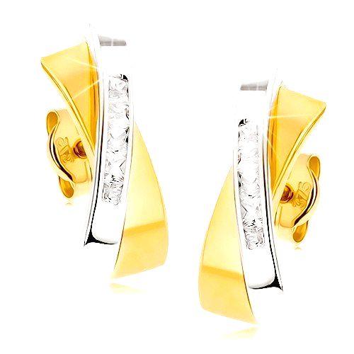Dvojfarebné zlaté náušnice 375 - dva prelínajúce sa oblúčiky