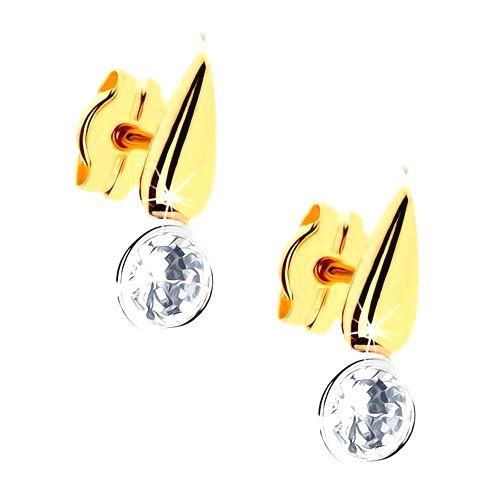 Dvojfarebné zlaté náušnice 375 - ligotavá kvapka