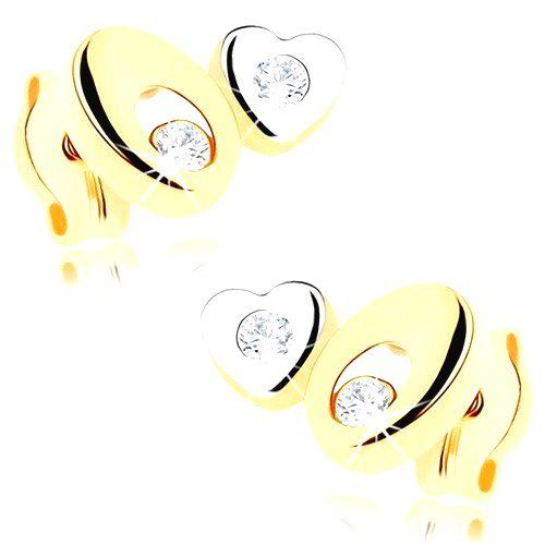 Dvojfarebné zlaté náušnice 375 - ovál s výrezom