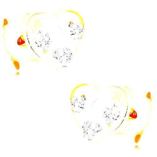 Dvojfarebné zlaté náušnice 375 - srdcová kontúra