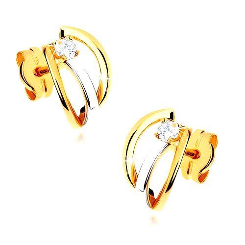 Dvojfarebné zlaté náušnice 375 - tri lesklé oblúčiky