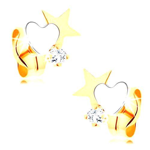 Dvojfarebné zlaté náušnice 585 - hviezda a srdce