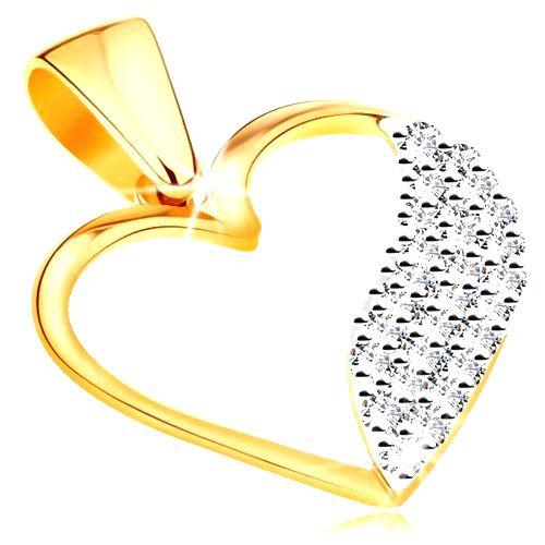 Dvojfarebný prívesok v 14K zlate - obrys srdca