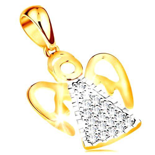 Dvojfarebný prívesok zo 14K zlata - anjel s vyrezávanými krídlami