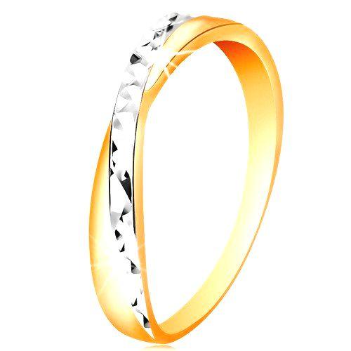 Dvojfarebný prsteň v zlate 585 - rozdelené ramená
