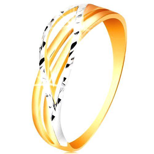 Dvojfarebný prsteň zo 14K zlata - rozvetvené a zvlnené línie ramien