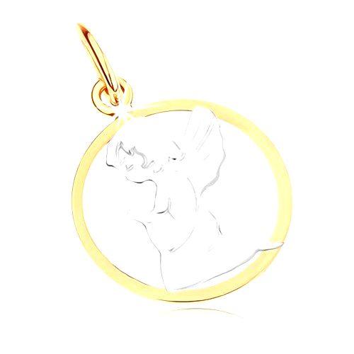 Dvojfarebný zlatý prívesok 585 - gravírovaný anjelik