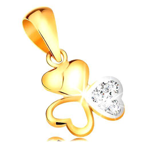 Dvojfarebný zlatý prívesok 585 - ligotavý trojlístok zo spojených srdiečok