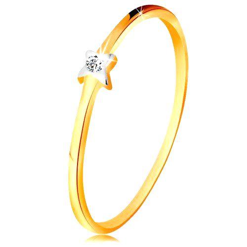 Dvojfarebný zlatý prsteň 585 - hviezdička s čírym briliantom