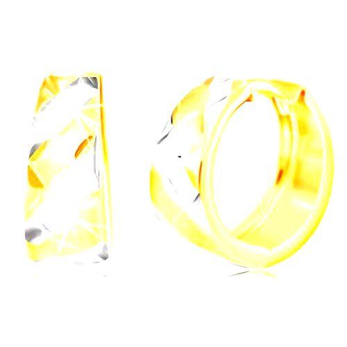 Kĺbové zlaté náušnice 585 - pásy v žltom a bielom zlate