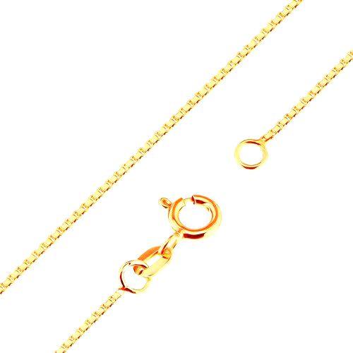 Lesklá zlatá retiazka 375 - husto spájané hranaté očká
