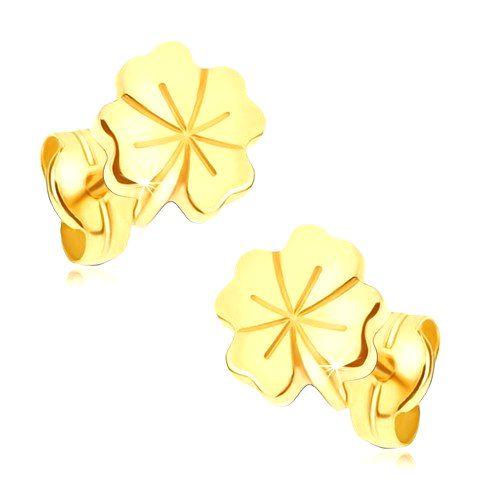 Lesklé zlaté náušnice 585 - štvorlístok pre šťastie