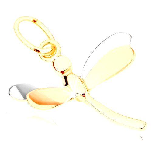 Lesklý prívesok zo žltého 9K zlata - vážka s dvojfarebnými krídlami