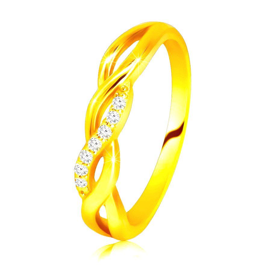 Lesklý prsteň zo 14K žltého zlata - prepletené vlnky