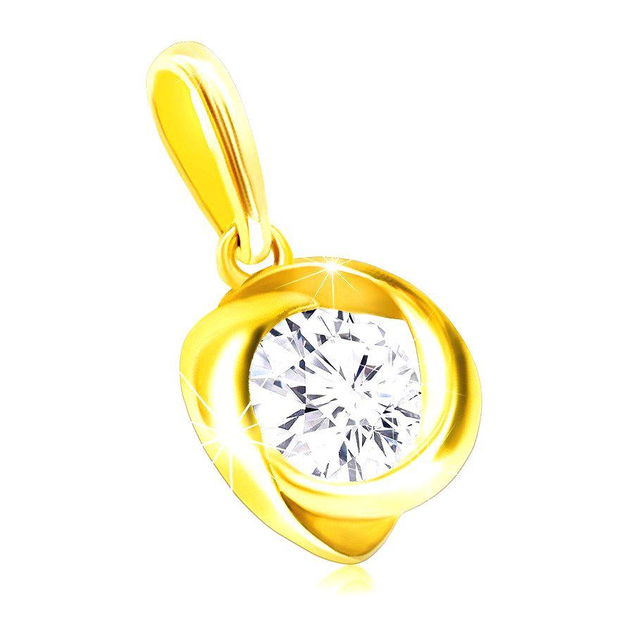 Lesklý zlatý prívesok 585 - ligotavý okrúhly zirkón vo zvlnenej hladkej línii