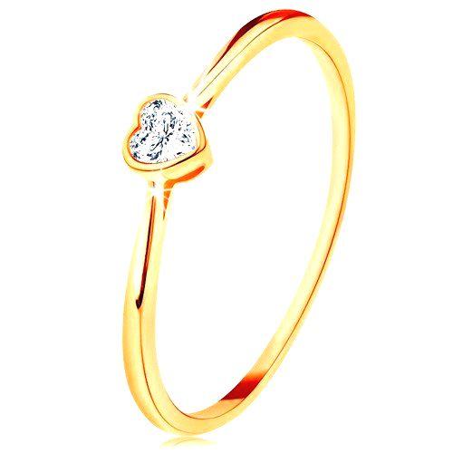 Lesklý zlatý prsteň 585 - číre zirkónové srdiečko s lesklým lemom - Veľkosť: 60 mm