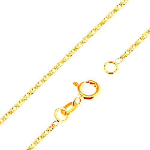 Ligotavá retiazka zo žltého 18K zlata - ligotavé prepojené oválne očká