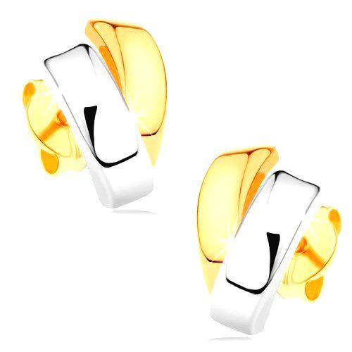 Ligotavé náušnice zo 14K zlata - dvojfarebné zahnuté línie