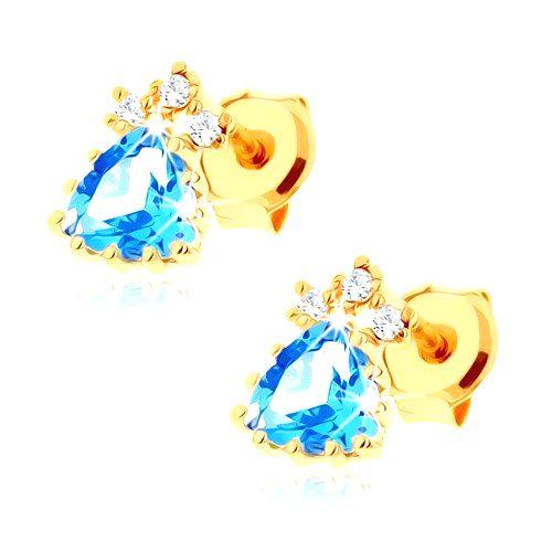 Ligotavé náušnice zo žltého 14K zlata - modrý topásový trojuholník