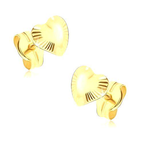 Ligotavé zlaté náušnice 585 - nepravidelné srdiečka