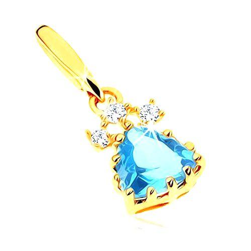 Ligotavý prívesok zo žltého 14K zlata - modrý topásový trojuholník