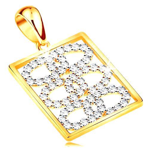 Ligotavý prívesok zo žltého 14K zlata - prepojené zirkónové obruče v obdĺžniku
