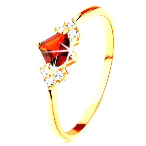 Ligotavý prsteň v žltom 14K zlate - červený granátový štvorček