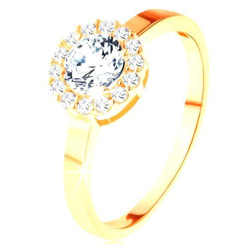 Ligotavý prsteň v žltom 14K zlate - okrúhly zirkón s obrubou z čírych zirkónikov - Veľkosť: 65 mm