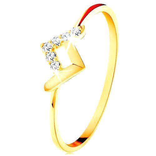 Ligotavý prsteň v žltom 9K zlate - lesklý a zirkónový zalomený pásik - Veľkosť: 58 mm