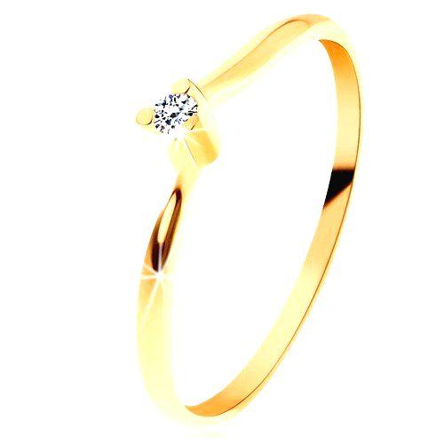 Ligotavý prsteň zo žltého 14K zlata - číry brúsený diamant