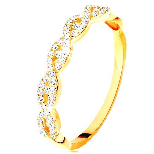 Ligotavý prsteň zo žltého 14K zlata - rozdelené prepletené ramená