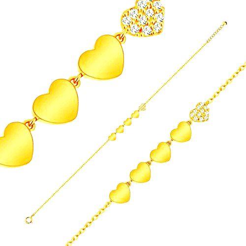 Ligotavý zlatý 14K náramok - línia piatich srdiečok