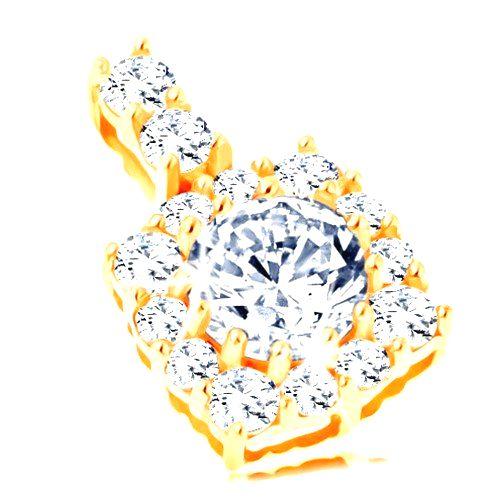 Ligotavý zlatý prívesok 585 - štvorcový zirkónový obrys