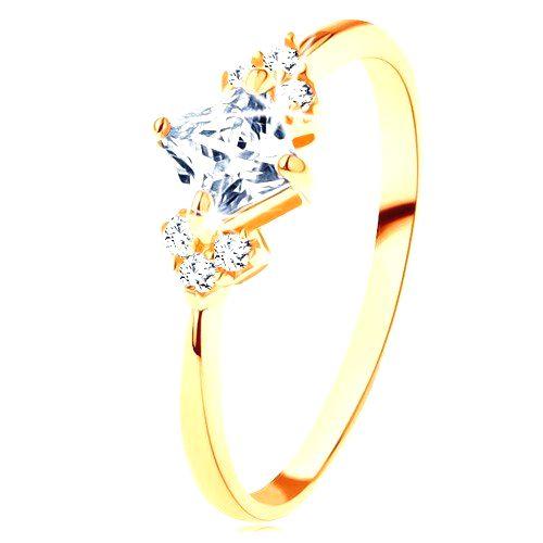 Ligotavý zlatý prsteň 375 - číry zirkónový štvorček