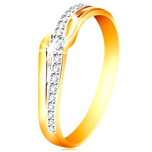 Ligotavý zlatý prsteň 585 - číry zirkón medzi koncami ramien