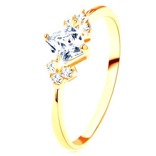 Ligotavý zlatý prsteň 585 - číry zirkónový štvorček