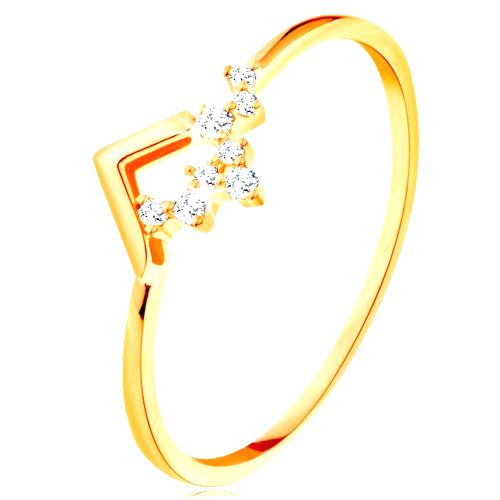 Ligotavý zlatý prsteň 585 - lesklý zalomený pás
