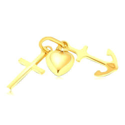 Multiprívesok zo zlata 14K - vypuklé srdce