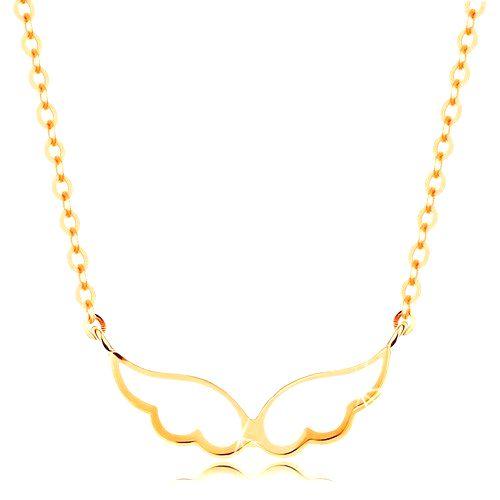 Náhrdelník v žltom 14K zlate - anjelské krídla pokryté bielou glazúrou