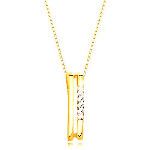 Náhrdelník v žltom 14K zlate - dva tenké zvislé pásiky