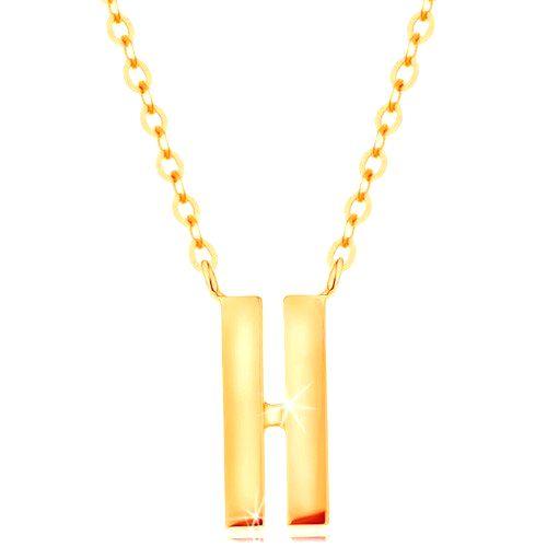 Náhrdelník v žltom 14K zlate - dva úzke pásiky s hladkým a lesklým povrchom