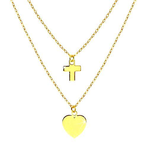 Náhrdelník v žltom 14K zlate - lesklé symetrické srdiečko a kontúra krížika