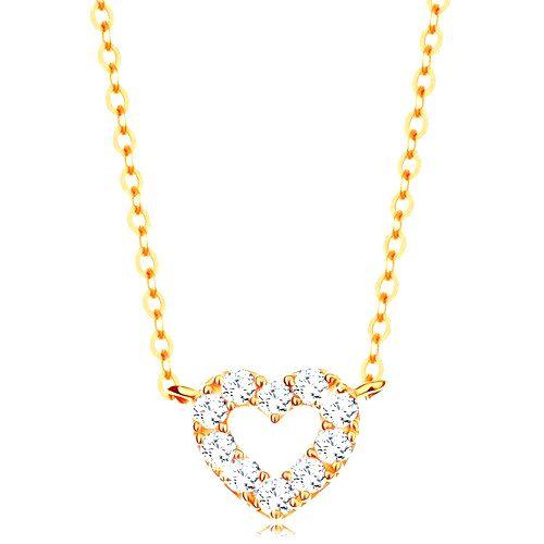 Náhrdelník v žltom 14K zlate - obrys srdca zdobený zirkónmi čírej farby