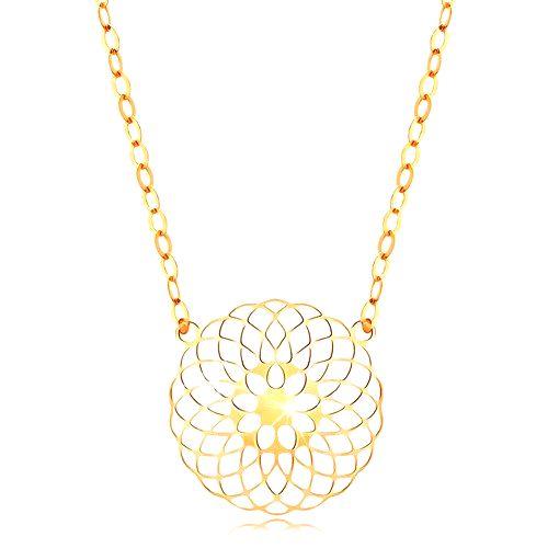 Náhrdelník v žltom 14K zlate - okrúhly vyrezávaný kvet